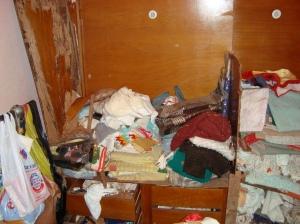 O que restou de um armário embutido,após ser atacado por cupins.